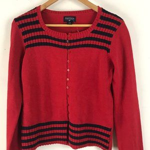 NWT NAUTICA Cardigan Medium Red & Blue Button